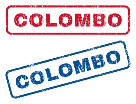 colombo: Colombo text rubber seal stamp watermarks. Vector style is blue and red ink tag inside rounded rectangular shape. Grunge design and scratched texture. Blue and red emblems. Illustration