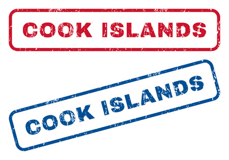 splashed: Cook Islands text rubber seal stamp watermarks. Vector style is blue and red ink caption inside rounded rectangular shape. Grunge design and dust texture. Blue and red signs.