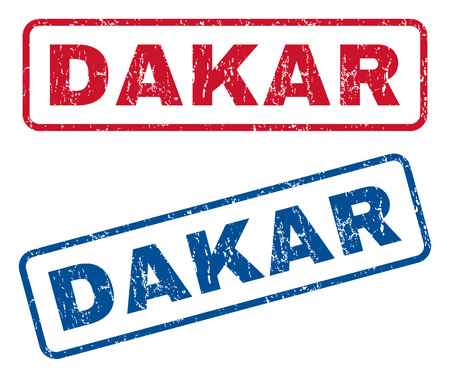 dakar: Dakar text rubber seal stamp watermarks. Vector style is blue and red ink caption inside rounded rectangular banner. Grunge design and scratched texture. Blue and red signs.