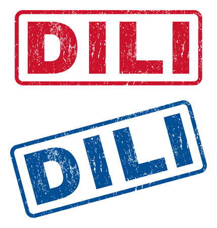 splashed: Dili text rubber seal stamp watermarks. Vector style is blue and red ink tag inside rounded rectangular shape. Grunge design and unclean texture. Blue and red signs.