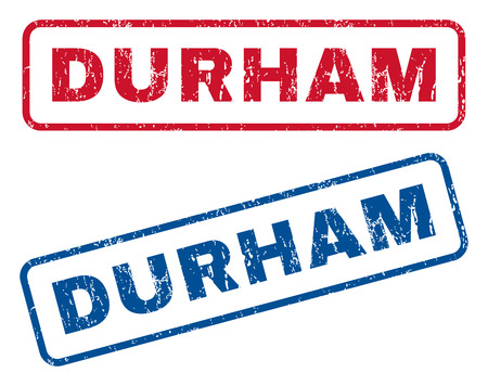 splashed: Durham text rubber seal stamp watermarks. Vector style is blue and red ink caption inside rounded rectangular shape. Grunge design and scratched texture. Blue and red signs.