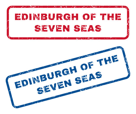 seas: Edinburgh Of The Seven Seas text rubber seal stamp watermarks. Vector style is blue and red ink caption inside rounded rectangular banner. Grunge design and dirty texture. Blue and red emblems.