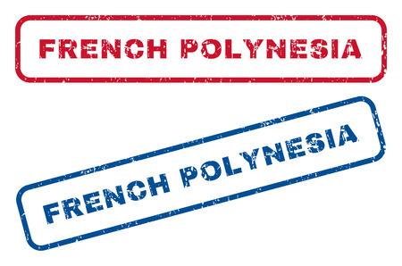 Poligranes françaises texte en filigrane de cachet de cachet. Le style de vecteur est une étiquette d'encre bleue et rouge à l'intérieur d'une forme rectangulaire arrondie. Conception grunge et texture rayée. Signes bleus et rouges.