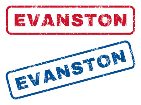 splashed: Evanston text rubber seal stamp watermarks. Vector style is blue and red ink tag inside rounded rectangular banner. Grunge design and unclean texture. Blue and red signs.