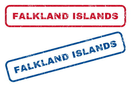 splashed: Falkland Islands text rubber seal stamp watermarks. Vector style is blue and red ink tag inside rounded rectangular shape. Grunge design and scratched texture. Blue and red stickers.