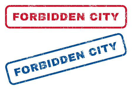forbidden city: Forbidden City text rubber seal stamp watermarks. Vector style is blue and red ink tag inside rounded rectangular shape. Grunge design and dirty texture. Blue and red signs. Illustration