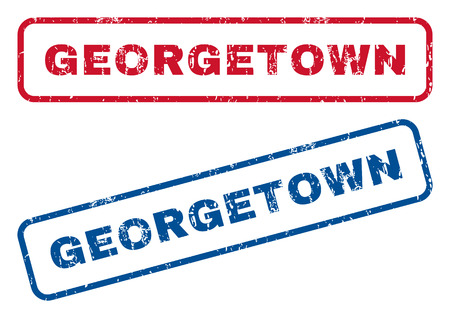 georgetown: Georgetown text rubber seal stamp watermarks. Vector style is blue and red ink tag inside rounded rectangular shape. Grunge design and scratched texture. Blue and red signs.