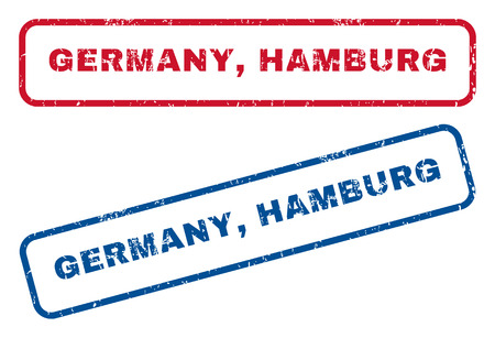 splashed: Germany, Hamburg text rubber seal stamp watermarks. Vector style is blue and red ink tag inside rounded rectangular shape. Grunge design and dust texture. Blue and red emblems.