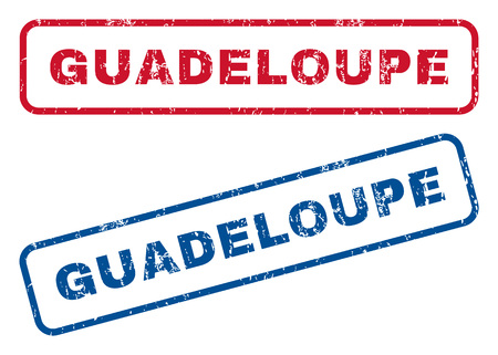 splashed: Guadeloupe text rubber seal stamp watermarks. Vector style is blue and red ink tag inside rounded rectangular banner. Grunge design and unclean texture. Blue and red signs.