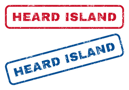 splashed: Heard Island text rubber seal stamp watermarks. Vector style is blue and red ink caption inside rounded rectangular shape. Grunge design and unclean texture. Blue and red signs.