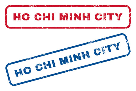 chi: Ho Chi Minh City text rubber seal stamp watermarks. Vector style is blue and red ink tag inside rounded rectangular shape. Grunge design and scratched texture. Blue and red stickers.