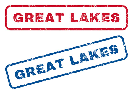 splashed: Great Lakes text rubber seal stamp watermarks. Vector style is blue and red ink tag inside rounded rectangular shape. Grunge design and dirty texture. Blue and red signs.
