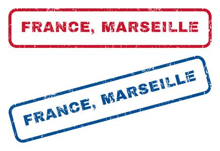 França, carimbo de borracha de texto de Marselha selo marcas d'água. Estilo de vetor é legenda de tinta azul e vermelha dentro de forma retangular arredondada. Grunge design e textura riscada. Adesivos azuis e vermelhos.