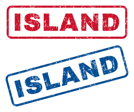splashed: Island text rubber seal stamp watermarks. Vector style is blue and red ink tag inside rounded rectangular shape. Grunge design and unclean texture. Blue and red emblems.