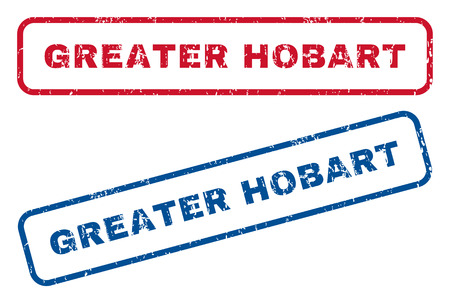 splashed: Greater Hobart text rubber seal stamp watermarks. Vector style is blue and red ink caption inside rounded rectangular shape. Grunge design and unclean texture. Blue and red emblems.