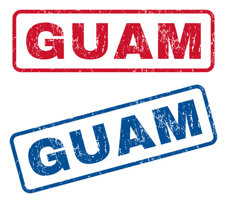 splashed: Guam text rubber seal stamp watermarks. Vector style is blue and red ink tag inside rounded rectangular shape. Grunge design and unclean texture. Blue and red signs.