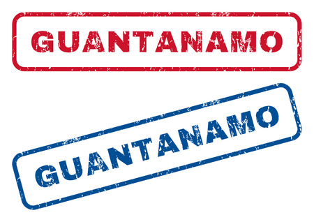 guantanamo: Guantanamo text rubber seal stamp watermarks. Vector style is blue and red ink caption inside rounded rectangular banner. Grunge design and scratched texture. Blue and red stickers.