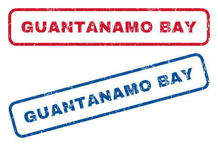 guantanamo: Guantanamo Bay text rubber seal stamp watermarks. Vector style is blue and red ink caption inside rounded rectangular shape. Grunge design and unclean texture. Blue and red signs.