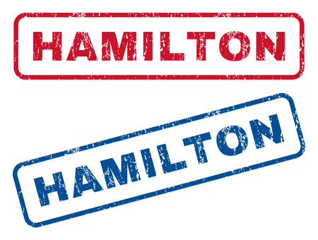 hamilton: Hamilton text rubber seal stamp watermarks. Vector style is blue and red ink tag inside rounded rectangular shape. Grunge design and dirty texture. Blue and red stickers.