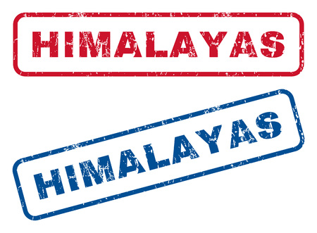 himalayas: Himalayas text rubber seal stamp watermarks. Vector style is blue and red ink caption inside rounded rectangular shape. Grunge design and scratched texture. Blue and red emblems.