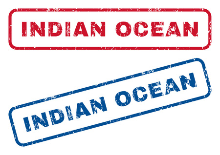 splashed: Indian Ocean text rubber seal stamp watermarks. Vector style is blue and red ink tag inside rounded rectangular banner. Grunge design and dirty texture. Blue and red stickers.