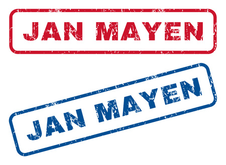 jan: Jan Mayen text rubber seal stamp watermarks. Vector style is blue and red ink tag inside rounded rectangular banner. Grunge design and dirty texture. Blue and red emblems. Illustration