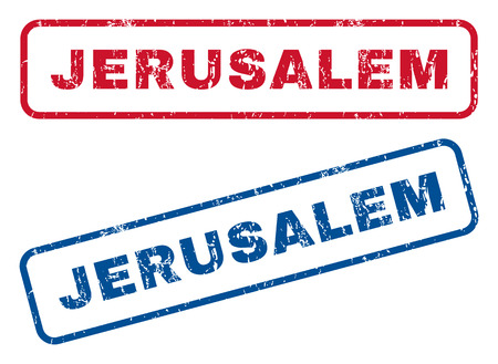 splashed: Jerusalem text rubber seal stamp watermarks. Vector style is blue and red ink caption inside rounded rectangular shape. Grunge design and dirty texture. Blue and red emblems. Illustration