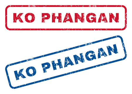 splashed: Ko Phangan text rubber seal stamp watermarks. Vector style is blue and red ink tag inside rounded rectangular banner. Grunge design and unclean texture. Blue and red emblems.