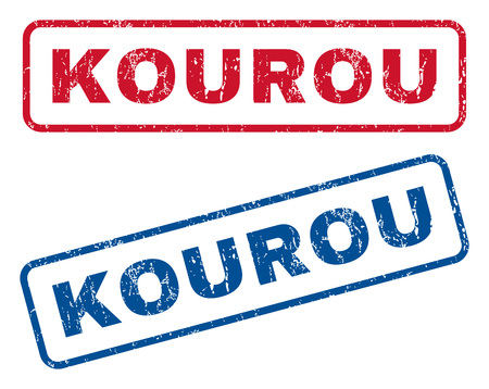 spaceport: Kourou text rubber seal stamp watermarks. Vector style is blue and red ink tag inside rounded rectangular banner. Grunge design and scratched texture. Blue and red emblems.