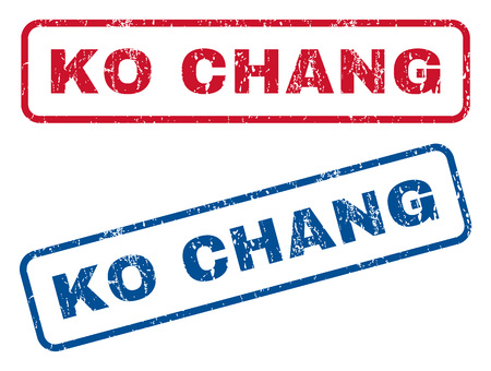 chang: Ko Chang text rubber seal stamp watermarks. Vector style is blue and red ink tag inside rounded rectangular banner. Grunge design and unclean texture. Blue and red signs.