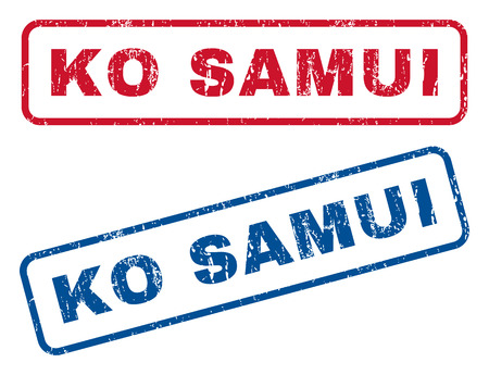 samui: Ko Samui text rubber seal stamp watermarks. Vector style is blue and red ink tag inside rounded rectangular banner. Grunge design and dust texture. Blue and red emblems. Illustration