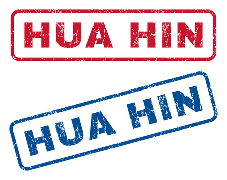 splashed: Hua Hin text rubber seal stamp watermarks. Vector style is blue and red ink tag inside rounded rectangular shape. Grunge design and dust texture. Blue and red signs.
