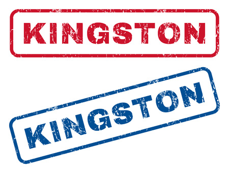 kingston: Kingston text rubber seal stamp watermarks. Vector style is blue and red ink tag inside rounded rectangular banner. Grunge design and dust texture. Blue and red stickers. Illustration