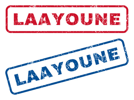 splashed: Laayoune text rubber seal stamp watermarks. Vector style is blue and red ink tag inside rounded rectangular shape. Grunge design and scratched texture. Blue and red signs.
