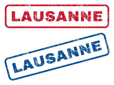 splashed: Lausanne text rubber seal stamp watermarks. Vector style is blue and red ink caption inside rounded rectangular shape. Grunge design and dirty texture. Blue and red emblems.
