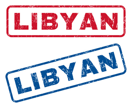 lybia: Libyan text rubber seal stamp watermarks. Vector style is blue and red ink caption inside rounded rectangular shape. Grunge design and dirty texture. Blue and red signs.