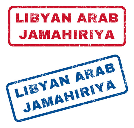 lybia: Libyan Arab Jamahiriya text rubber seal stamp watermarks. Vector style is blue and red ink tag inside rounded rectangular shape. Grunge design and scratched texture. Blue and red signs.