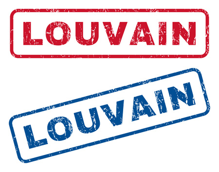 splashed: Louvain text rubber seal stamp watermarks. Vector style is blue and red ink tag inside rounded rectangular banner. Grunge design and scratched texture. Blue and red emblems. Illustration