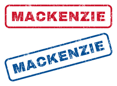splashed: Mackenzie text rubber seal stamp watermarks. Vector style is blue and red ink tag inside rounded rectangular banner. Grunge design and unclean texture. Blue and red stickers.