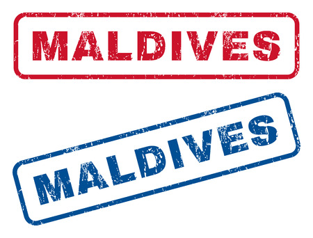splashed: Maldives text rubber seal stamp watermarks. Vector style is blue and red ink tag inside rounded rectangular shape. Grunge design and dust texture. Blue and red signs.