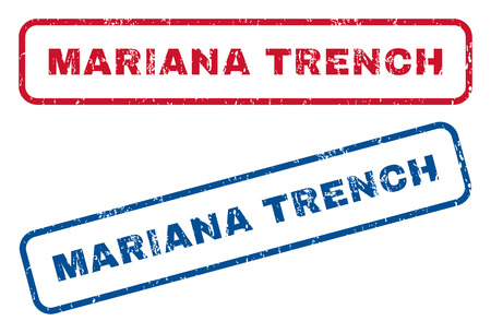 mariana: Mariana Trench text rubber seal stamp watermarks. Vector style is blue and red ink caption inside rounded rectangular banner. Grunge design and dust texture. Blue and red stickers. Illustration