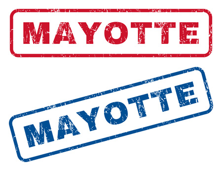 mayotte: Mayotte text rubber seal stamp watermarks. Vector style is blue and red ink caption inside rounded rectangular shape. Grunge design and dust texture. Blue and red signs. Illustration