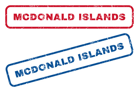 mcdonald: Mcdonald Islands text rubber seal stamp watermarks. Vector style is blue and red ink tag inside rounded rectangular banner. Grunge design and dirty texture. Blue and red emblems. Illustration