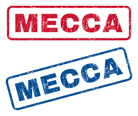 splashed: Mecca text rubber seal stamp watermarks. Vector style is blue and red ink caption inside rounded rectangular shape. Grunge design and dust texture. Blue and red stickers.