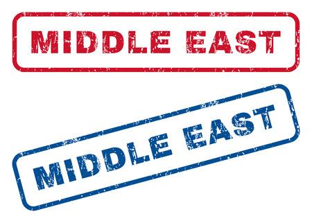 splashed: Middle East text rubber seal stamp watermarks. Vector style is blue and red ink caption inside rounded rectangular banner. Grunge design and dust texture. Blue and red signs.