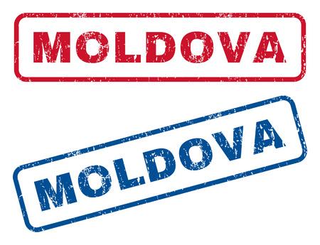 moldavia texto de sello de goma de texto sello de marca de agua de vector de marca de agua y el sello de goma rojo en forma de ilustración rectangular con textura rayado y textura rayado. emblemas y de color rojo