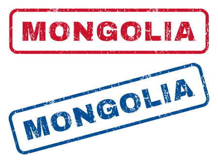 splashed: Mongolia text rubber seal stamp watermarks. Vector style is blue and red ink caption inside rounded rectangular shape. Grunge design and scratched texture. Blue and red stickers.