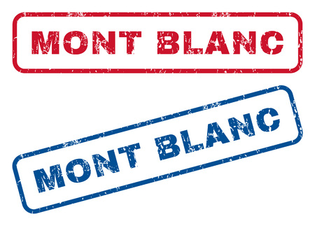 blanc: Mont Blanc text rubber seal stamp watermarks. Vector style is blue and red ink tag inside rounded rectangular banner. Grunge design and dirty texture. Blue and red signs. Illustration