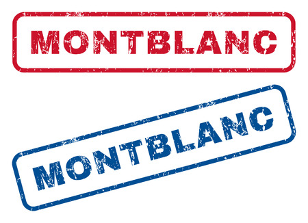 Montblanc text rubber seal stamp watermarks. Vector style is blue and red ink tag inside rounded rectangular shape. Grunge design and dirty texture. Blue and red stickers.
