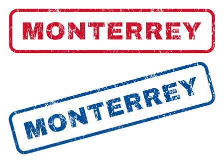 monterrey: Monterrey text rubber seal stamp watermarks. Vector style is blue and red ink tag inside rounded rectangular shape. Grunge design and dust texture. Blue and red stickers. Illustration
